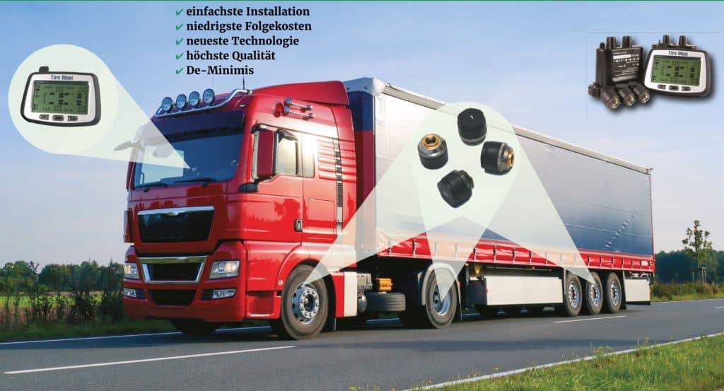 Reifendruckkontrolle für Nutzfahrzeuge und Busse: schnell und einfach installiert